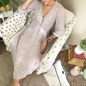 Free People Dove Gray Fable Embroidered Midi Dress